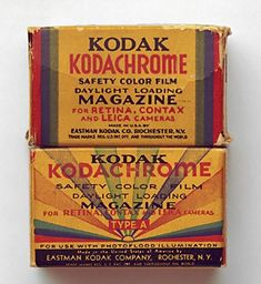 Vintage Kodak Kodachrome Film packaging.