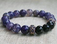 agate bracelet gemstone bracelet purple bracelet onyx