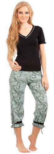 938eaba8e517 Adriana Arango Women s Pajama Set Trendy Top Paisley Prints Capris