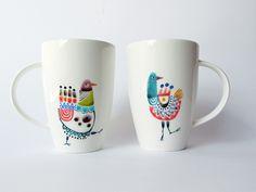 Illustration on porcelain · Ilustración sobre porcelana · Dibujado a mano · Hand-drawn www.cayagutierrez.com Illustration, Mixed Media, Objects, Ink, Lettering, Mugs, Drawings, Tableware, Handmade