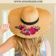 This adorable floppy hat features a straw material, writing on the rim and a black ribbon along the middle. Floppy Straw Hat, Dark Tan, Black Ribbon, Cowboy Hats, Rose, Diy, Fashion, Sombreros, Embroidery