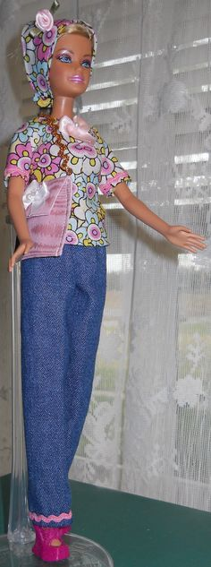 Handmade Barbie cotton jeans set by AuntieLousCrafts on Etsy, $10.00