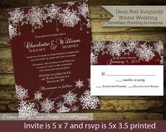 Burgundy & Snowflakes Winter Wedding Invitation