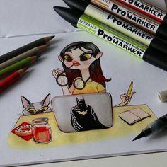 Jour 17: En quête d'inspiration. Day 17: Looking for inspiration. #illustration #pentel #ink #inktober #frenchinktober #inktober2go #girl #cat #promarker #pencil #pc #batman #donut #geek