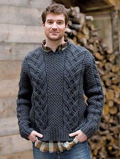Men's Hand Knit Crew Neck Sweater 140B