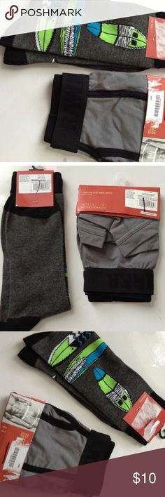 NWT boxers briefs sz Sm & decorative socks for men NWT BOXERS AND SOCKS FOR MEN-  Socks fit sizes 6-12 & have a longboard or surfboard? print on them and boxers are size small and gray in color Underwear & Socks Boxer Briefs