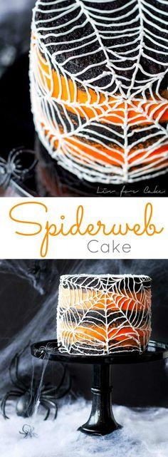 Halloween Party Recipes - Spiderweb Cake Dessert Recipe via Liv for Cake - Rich Black Cocoa Cake with an Orange Buttercream Frosting