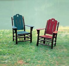 Appalachian Hickory - His & Hers Hickory Furniture, Hickory Chair, Cabin Furniture, Rustic Furniture, Furniture Chairs, Rustic Design, Rustic Style, Painted Wood Chairs, Rustic Crafts