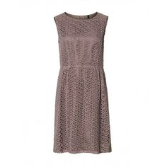 Sleeveless dress, scoop neck, made of textured fabric, cut waist and skirt with small side pleats. Backside zip closure.