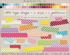 2370 #patterned digital #washi tape strips. 6 patterns ( #quatrefoil, #hearts, #chevron, #stars, #stripes, #polka dots) each in 6 sizes and each in 64 rainbow colors. INSTANT DOWNLOAD BUY NOW AND GET 40% OFF with coupon HAPPY40