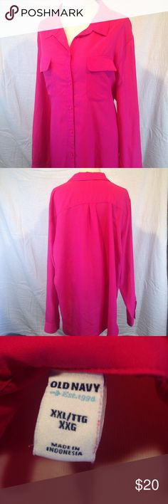 Pink Old Navy XXL blouse 👚--like new This pink Old Navy XXL blouse is a button down in excellent used condition. Like new it is made of a light and fun fabric. Bright pink and cheery. Please ask any questions before purchasing please see photos for awesome condition that it's in. Old Navy Tops Button Down Shirts