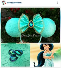 Princess Jasmine Mickey ears Disney Diy, Disney Bows, Disney Crafts, Disney Stuff, Disney Magic, Disney Ears Headband, Disney Headbands, Disney Mickey Ears, Micky Ears