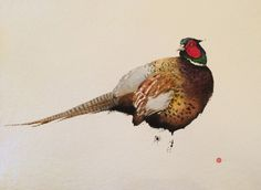 Pheasant by Karl Martens A large male pheasant picks his way through the forest, his rich chestnut feathers gently fluttering in the spring breeze. Upon hearing a sharp, loud noise he turns his head behind him, his intense eyes staring in to the distance, framed by his striking red and green face. This painting is …