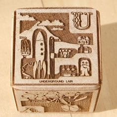 The Xylocopa Young Mad Scientist Laser Etched Wood Alphabet Blocks ~ in person! I even took pics of each letter so you can see up close how fun the illustrations are! Original found in #16975!