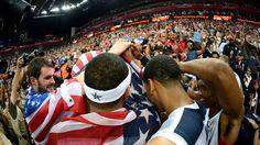 USA celebrates winning the men's Basketball gold medal game