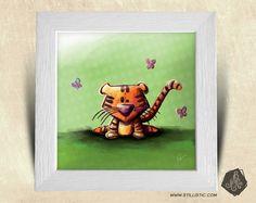 Cadre carré 25x25 avec Illustration Tigre et papillons pour Chambre Enfant bébé : Décorations murales par stillistic