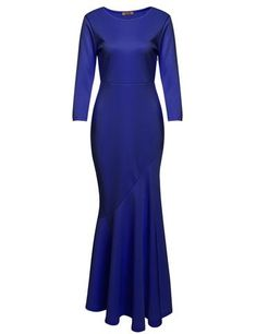 Blue Women's 3/4 Sleeve Bodycon Gown Asymmetrical Fishtail Maxi Evening Dresses