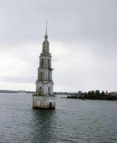 Bell tower in Kalyazin, Russia, 1958