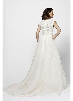 Gorgeous Lace & Organza Satin A-Line V-neck Neckline Wedding Dress
