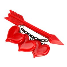 View this item and discover similar brooches for sale at - Red Bakelite arrow brooch pin with three Bakelite hearts suspended across by black chain. Plastic Jewelry, Metal Jewelry, Antique Jewelry, Vintage Jewelry, Plastic Plastic, Valentines Greetings, Vintage Valentines, Vintage Costume Jewelry, Vintage Costumes