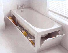 Tiny Bathrooms - Extra Tub Storage... And piece inside so u dnt see tub base