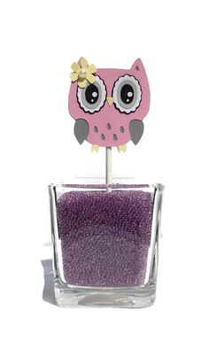 Pink and gray owl pink owl decor owl by NancysBannerBoutique