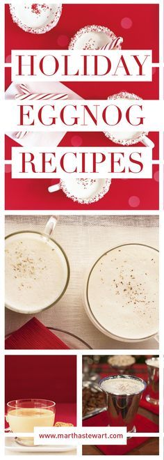 Just a few ingredients -- egg yolks, sugar, milk, cream, and nutmeg -- create the wonderfully distinctive flavor of that favorite holiday drink, eggnog. These eggnog recipes can be spiked to your liking with rum, bourbon, or brandy, or enjoyed in nonalcoholic form by guests of all ages. In addition to classic and easy eggnog recipes, we gathered our best eggnog desserts, including cheesecake bars and panna cotta.