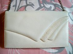 Vintage 1960s Cream Snakeskin Style Shoulder Bag Clutch Purse by BlackRain4, $34.99