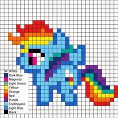My Little Pony - Rainbow Dash pattern - by Perler Mania Pony Bead Patterns, Pearler Bead Patterns, Perler Patterns, Beading Patterns, Cross Stitch Patterns, Loom Patterns, Hama Beads Design, Diy Perler Beads, Perler Bead Art