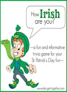 How Irish Are You Trivia Game from Let's Get Together - one of several #stpatricksday games!