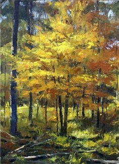 Kevin Menck Fine Art Paintings I Love, Nature Paintings, Landscape Art, Landscape Paintings, Autumn Painting, Painting Trees, Art Connection, Cityscape Art, Muse Art