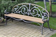 Custom Wrought iron outdoor bench - beautiful