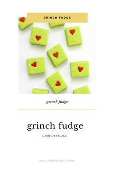 grinch fudgeThis colorful and fun Grinch fudge recipe will make your own heart grow three sizes! Only four ingredients and minutes to make, it's just the right sweet treat for a family night watching the classic Dr. Seuss Christmas story.Ingredients2 2/3 cup white chocolate chips 16 ounces SEE NOTE!!1 can sweetened condensed milk 14 oucespinch salt (optional)few drops green food coloring25 heart sprinklesSource : howtomakeeasyfudge.com Crockpot Dessert Recipes, Fudge Recipes, Cake Recipes, Christmas Deserts, Green Food Coloring, Family Night, White Chocolate Chips, Condensed Milk, A Christmas Story
