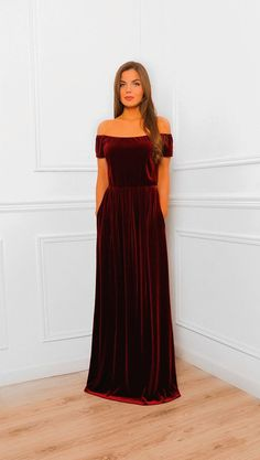 9f3f4e227b8e2 Dark Burgundy Shoulders Off Maxi Velvet Dress  Bridesmaid Party Dress With  Pockets Mini Sleeves Sash