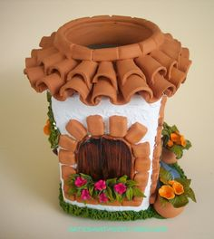polymer clay fairy jar-house