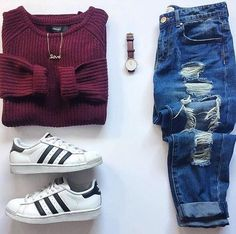 Burgundy jeans adidas originals superstar cool outfits adidas women s shoes amzn to karierte hose+bluse+pullover+schwarze loafer Teenage Outfits, Cute Outfits For School, Teen Fashion Outfits, Cute Casual Outfits, Mode Outfits, Look Fashion, Outfits For Teens, Fall Outfits, Fashion Clothes