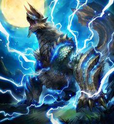 El Jinouga un Wyverns de colmillos cuyos cuerpos emanan electricidad. Las garras afiladas y fuertes antebrazos les permiten recorrer y sobrevivir en montañas. Cuando cazan, reúnen gran cantidad de insectos electricos para aumentar al máximo su poder.