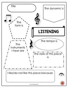 FREE download - music listening student response music worksheet  ♫ ♫