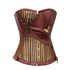 Gold Brown Steel Boned Corset Steampunk Clothing