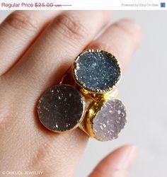 SALE Bohemian Chic Druzy Quartz Rings  Choose Your Stone by OhKuol, $20.00