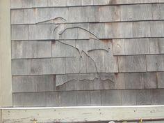 Heron - shingle art Cedar Shingle Siding, Cedar Shake Siding, Shake Shingle, Cedar Shakes, Cedar Shingles, House Siding, Cottage Exterior, Cottage Homes, Cladding