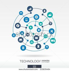 Technology connection concept. Abstract background with integrated circles and icons for digital, internet, network, connect, communicate, social media, global concepts. Vector infograph illustration