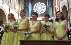 Yellow bridesmaid dresses. Yellow wedding inspiration - perfect for a spring wedding, or even a summer wedding.  For more wedding inspiraiton visit Bride at www.weddingsite.co.uk