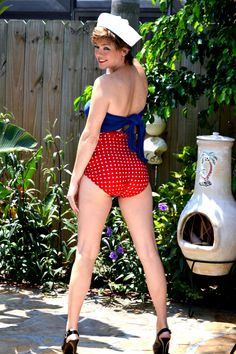 Medium Bathing Suit Wrap Around Swimsuit Pin Up Girl Americana Handmade in the USA Womens Swimwear Red with White Polka Dots with Navy Blue