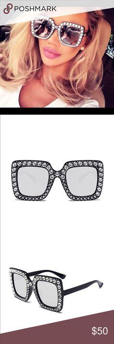 Black studded sunglasses Black rhinestone with silver lens Accessories Sunglasses