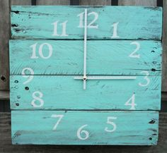Reclaimed Wood Clock Beach Clock Aqua wood by ThePalletDoctor