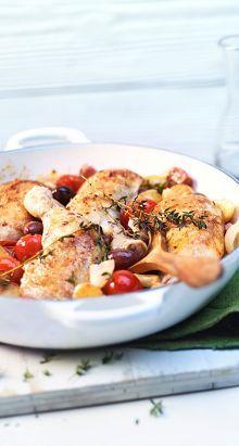 Pouletschenkel eschmort mit Oliven und Speck