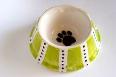 Pet Bowl - Lime Green and White Stripes with Black Polka Dots - Hand painted - Ready to Ship