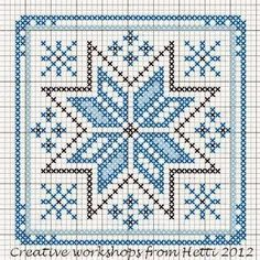 Creative Workshops from Hetti: Winter in the Netherlands - ornament cross stitch chart . no color chart available, just use the pattern chart as your color guide.Ideas que mejoran tu vidaThe Ukraine Kalada (kalyadki) midnight star! Biscornu Cross Stitch, Cross Stitch Charts, Cross Stitch Designs, Cross Stitch Embroidery, Embroidery Patterns, Cross Stitch Patterns, Hand Embroidery, Plastic Canvas Patterns, Le Point
