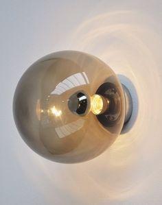Frank Ligtelijn; Smoked Glass Wall Light for Raak, 1965.
